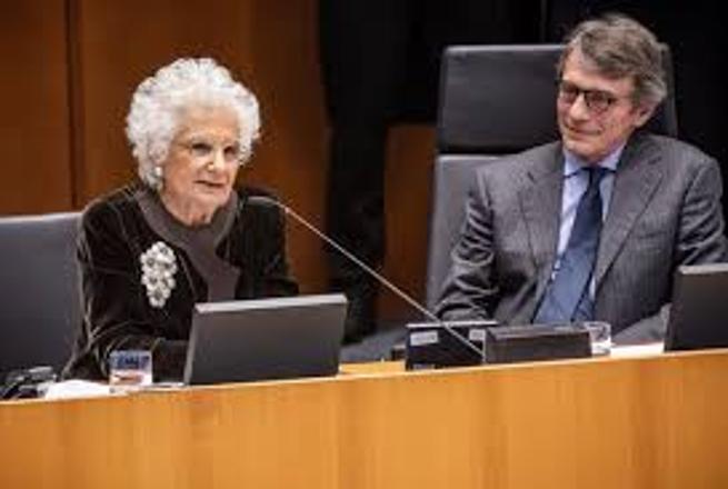 Liliana Segre col Presidente Sassoli